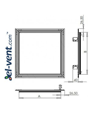 Drywall access panel KRAL16, 150x150 mm - drawing