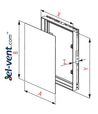 Tile access panel (250x1)x(350x1) 256x356 mm, MPCV18 - drawing