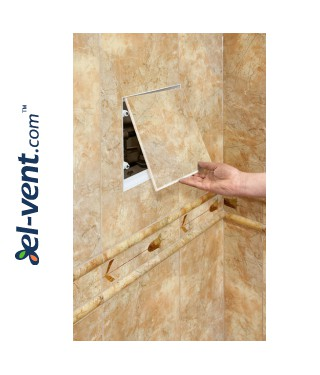Tile access panel 150x150 mm MPCV1 - an example of opening