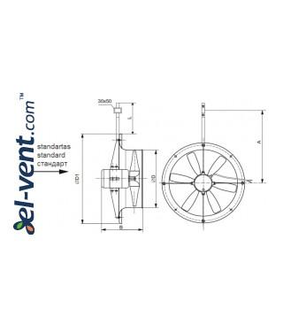 Вентиляторы для теплиц AXIA-G ≤10000 м³/ч - чертеж