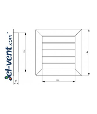 Gravity vent louvers GG250-450 - drawing