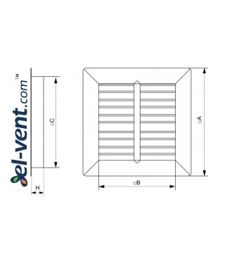 Gravity vent louvers GG500-900 - drawing