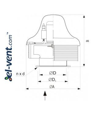 Acid resistant roof fans SVRUF-BOH ≤3500 m³/h - drawing