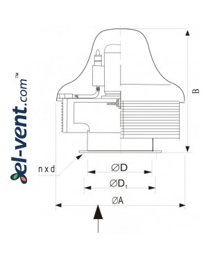 Centrifugal roof fans SVRUF-SB ≤7000 m³/h - drawing