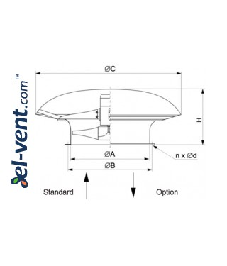 Axial roof fans SVWOD ≤7370 m³/h - drawing