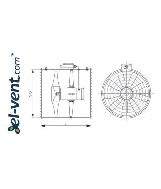 Hanging air circulators WOJ-POWER ≤23800 m³/h - drawing