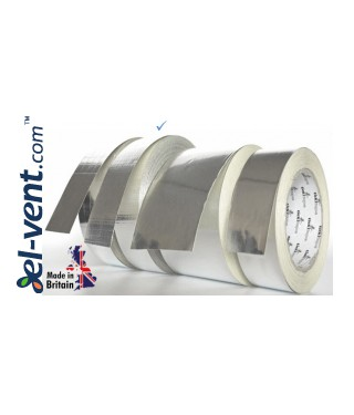 Adhesive aluminum foil tape reinforced for ducts AS256, 4.8 cm x 45 m, -40 - +120 °C