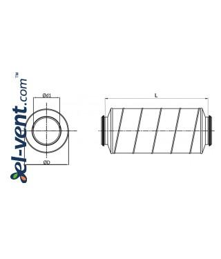 Silencer TS-50-160-900, Ø160 mm - drawing