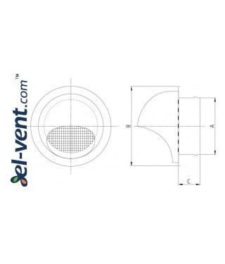 Exterior vents GL INOX - drawing