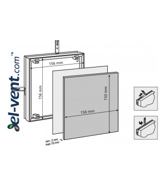 Tile access panel (150x1)x(150x1) - 156x156 mm, 80701 - drawing