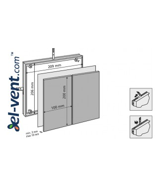 Tile access panel (100x2)x(200x1) - 209x206 mm, 80711 - drawing