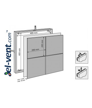 Tile access panel (200x2)x(200x2) - 409x409 mm, 80733 - drawing