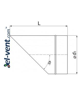 Air vent cover EGL45/125, Ø125 mm - drawing
