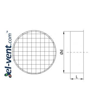 Air vent cover EGLT160, Ø160 mm - drawing