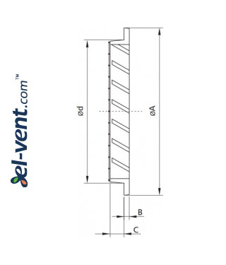Aluminum ventilation grille AG ALU - drawing