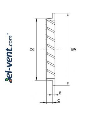 Aluminum ventilation grille AG500, Ø500 mm - drawing