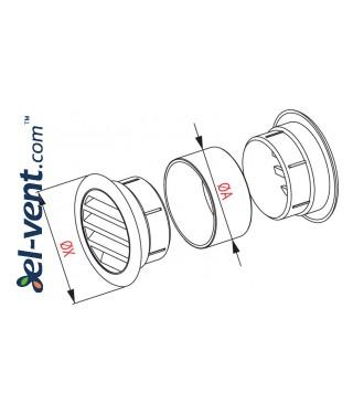 Вентиляционные решетки GRT71 (2 шт.), Ø40/55 мм - чертеж