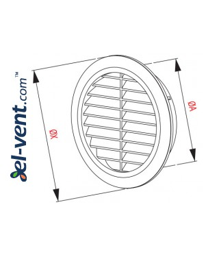 Door grille GRT74BR brown, Ø60/80 mm - drawing