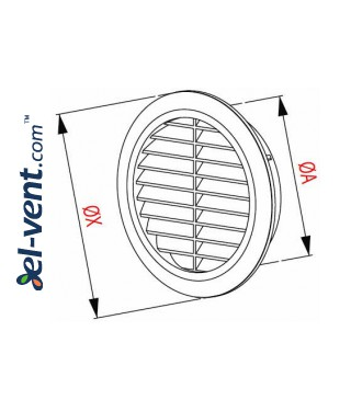Ventilation grille GRT36SS, Ø100-150/180 mm - drawing