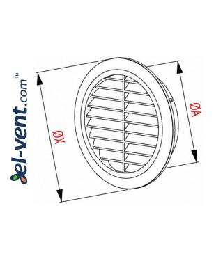 Ventilation grille GRT36GR, Ø100-150/180 mm - drawing
