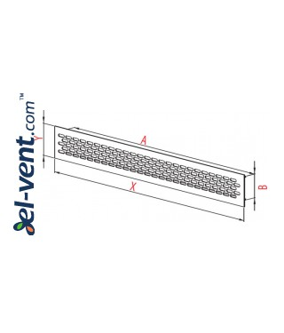 Aluminum ventilation grille MR1B, 480x60 mm - drawing