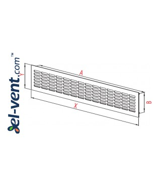 Aluminum ventilation grille MR2B, 480x80 mm - drawing