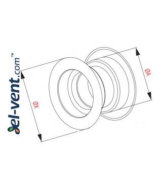 Дверные вентиляционные решетки GRT14, 2 шт., 40x55 мм - чертеж
