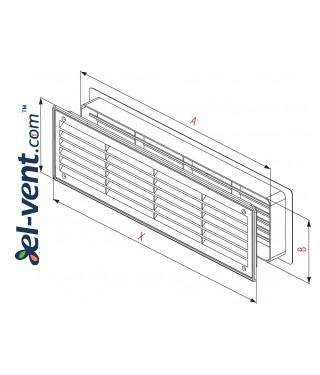 Door grilles GRT15K112, 2 pcs., 135x460 mm (cherry-tree) - drawing