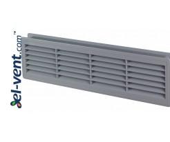 Ventiliacinės grotelės durims GRT15SZ, 2 vnt., 135x460 mm (pilka)