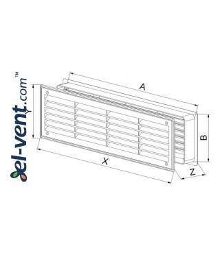 Дверные вентиляционные решетки GRT15, 2 шт., 135x460 мм - чертеж