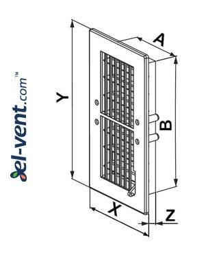 Vent cover with shutter GRT20, 140x300 mm - drawing