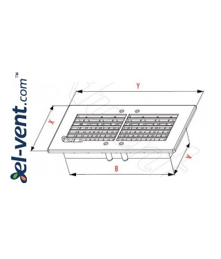 Ventilation grille with shutter GRT20, 140x300 mm - drawing