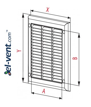 Ventilation grille with shutter GRTK6, 250x250 mm - drawing