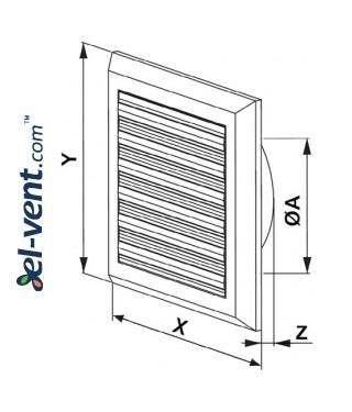 Вентиляционная решетка с заслонкой GRT78, 175x175 мм, Ø125 мм - чертеж