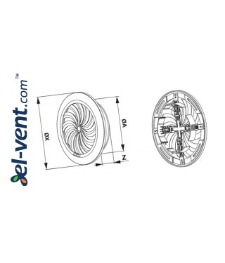 Ventilation grille with shutter GRT88, Ø100-150/180 mm - drawing