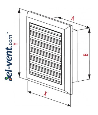 Vent cover with shutter GRT41, 175x235 mm - drawing