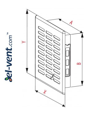 Vent cover with shutter GRT06, 165x235 mm - drawing