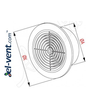 Ceiling vent cover GRT64, Ø100/152 mm - drawing