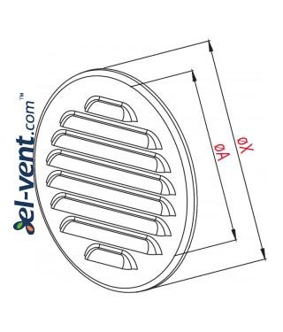 Stainless steel ventilation grille META14N Ø100 mm - drawing