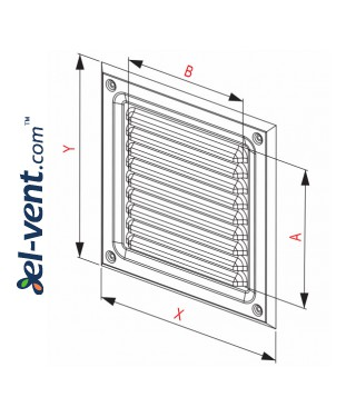Stainless steel ventilation grille META2N 165x165 mm - drawing