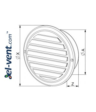 Stainless steel outdoor vent cover CMN150, Ø150 mm - drawing