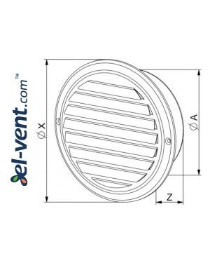 Наружные вентиляционные решетки из нержавеющей стали CMN INOX - чертеж