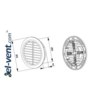 Vent cover GRT36, Ø100-150/180 mm - drawing