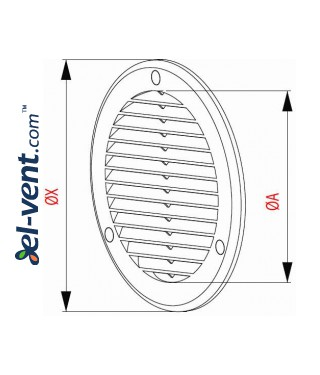 Vent cover GRU14K, Ø100 mm - drawing