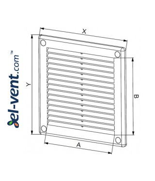 Vent cover 180x250 mm, GRU4SS (grey) - drawing