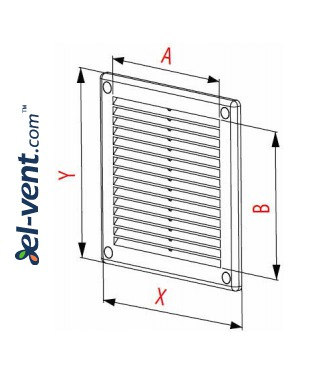 Vent cover GRU28, 150x200 mm - drawing