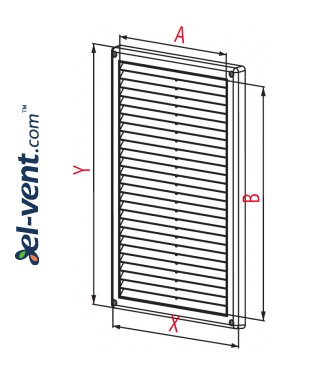 Ventilation grille with shutter GRT85, 220x340 mm - drawing