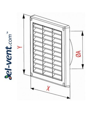 Ventilation grille with shutter GRT55, 165x165 mm, Ø100 mm - drawing