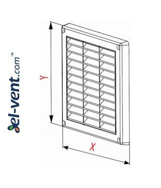 Вентиляционная решетка с заслонкой GRT59A, 235x165 мм - чертеж