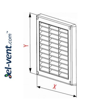 Ventilation grille with shutter GRT43A, 165x165 mm - drawing